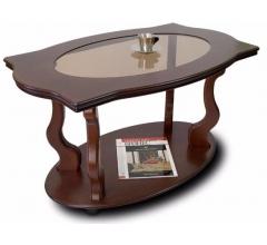 Журнальный стол Берже-3С со стеклом на колесах темно-коричневый